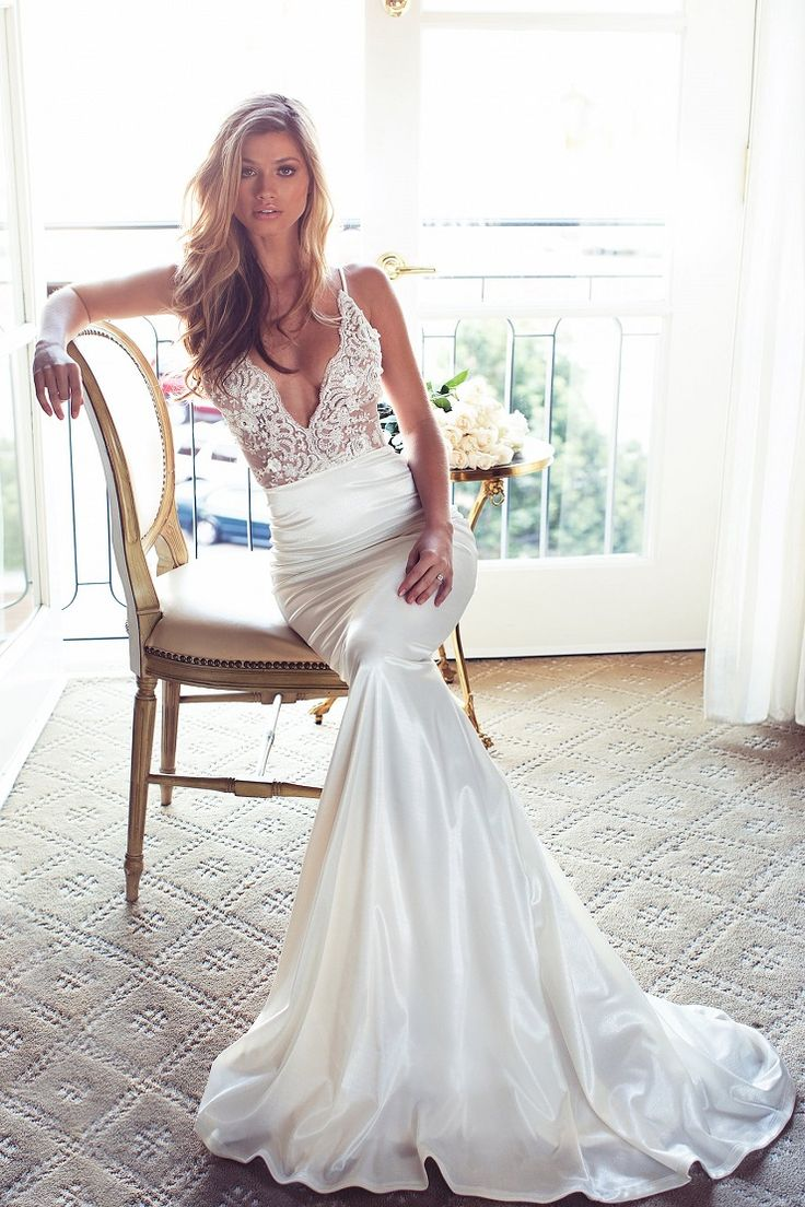 Sexy Plunging Neckline trumpet mermaid cut Wedding Dress - Sexy Plunging Neckline Wedding Dress | itakeyou.co.uk #weddingdress #wedding #weddinggown #wedinggowns #bridalgown #bride #weddingdresses #vneck #plungingneckline