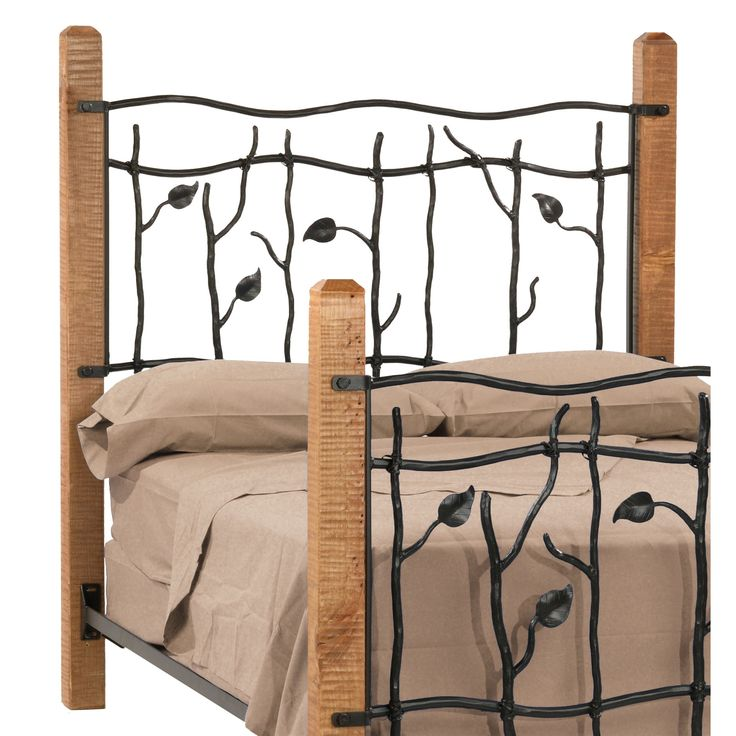 Adorable Wrought Iron Headboard With Brown Bedding