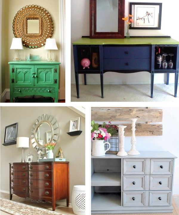 really like the bottom left image - fix up current bedroom dresser for entryway use