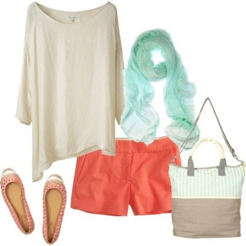 .: Fashion, Style, Colors, Spring Summer, Summer Outfits, Scarf, Spring Outfit, Coral Shorts