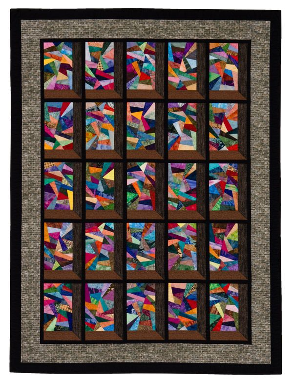 Attic Windows quilt with fractured stained glass blocks, in:  Stash Magic by Jaynette Huff (Martingale)