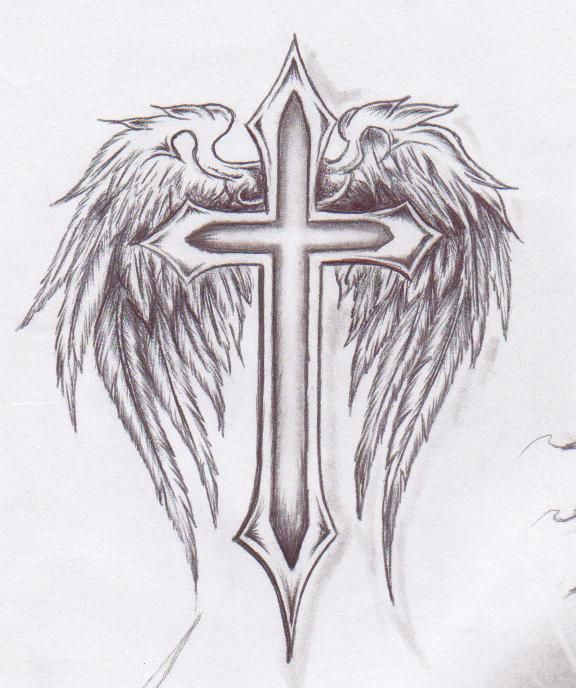 Cross With Angel Wings Tattoo: Pin On Tattoos