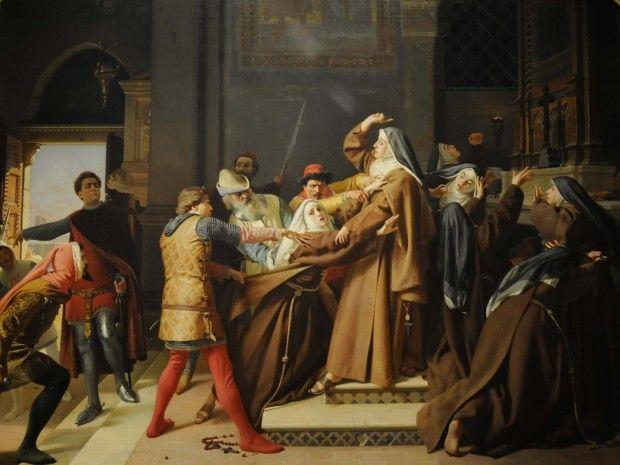 Paradiso, in de sfeer van de maan, de ontstandvastigen, Piccarda Donati was een 13e-eeuwse Italiaanse edelvrouw. Ze werd kloosterzuster maar werd evenwel met geweld door haar broer Corso uit het klooster gehaald, om te trouwen met een Florentijnse man vanwege politieke belangen van haar familie. Zij stierf kort na haar huwelijk.  Ze had voldaan aan de wensen van haar broer, maar haar belofte aan God gebroken.  Raffaello Sorbi