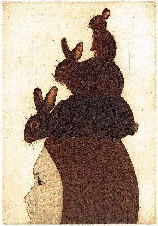 Rabbit days by Kyoko Imazu, 2013; etching and aquatint