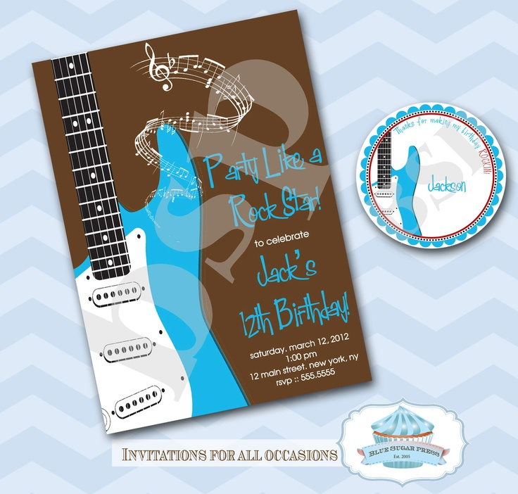 Guitar Rock Star Birthday Party Invitation Set. $15.00 ...