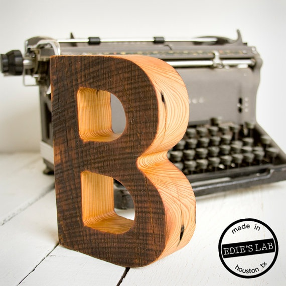Reclaimed Wood B Letter Decor For Your Desktop  by EdiesLab, $35.00