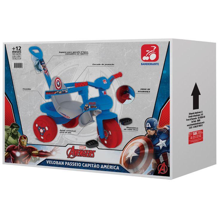 Veloban Passeio Bandeirante 2241 Capitão América - Azul - Triciclos no Pontofrio.com