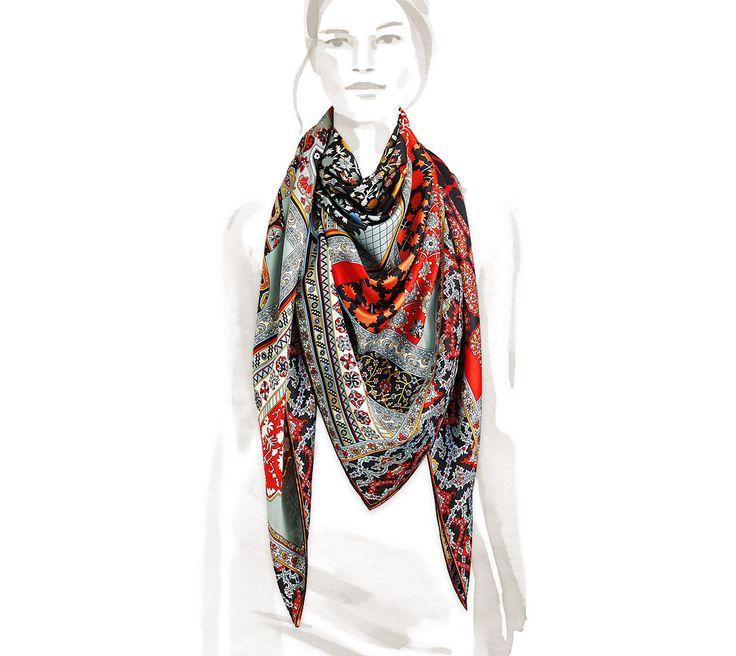 Cashmere Silk Scarf - Circuitry Cashmere Silk by VIDA VIDA NxD2ce2t