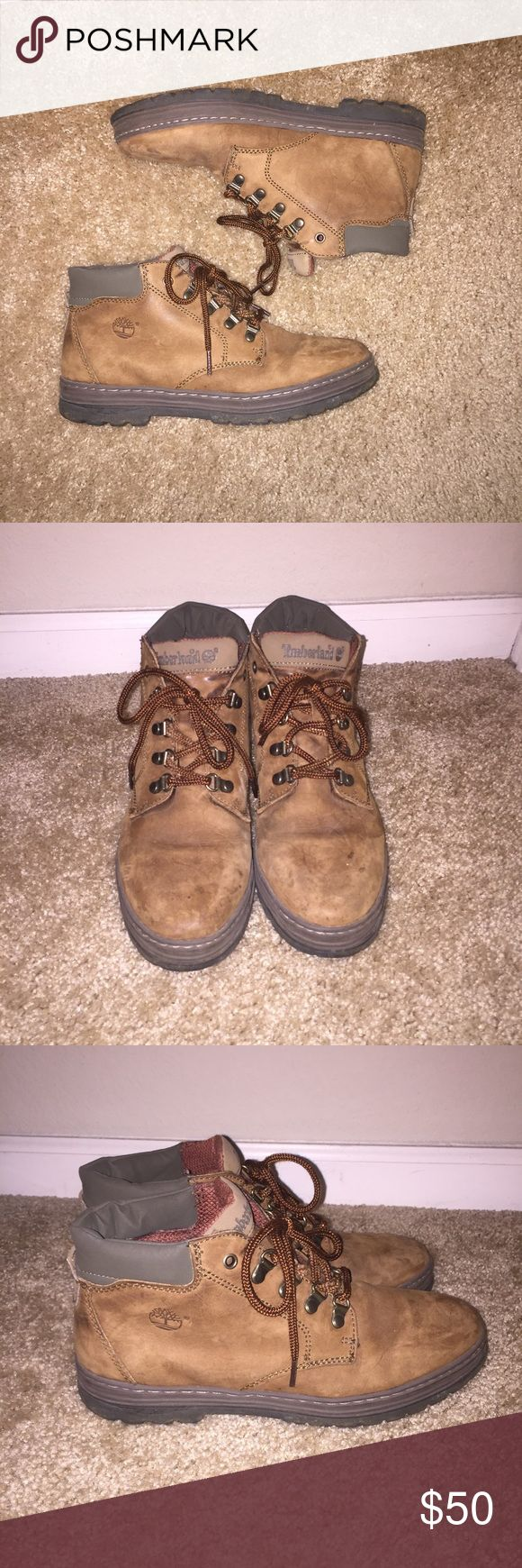 Brown Timberland Combat/Work/Hiking Boots Pretty good condition! I'm just reposhing these. I'm so sad they didn't fit me! They go up to the ankle. They're super cute, but this style is not for wide foot girls! Timberland Shoes Lace Up Boots