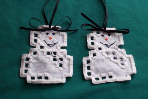 Two Cute Hardanger Snow Men Ornaments | eBay