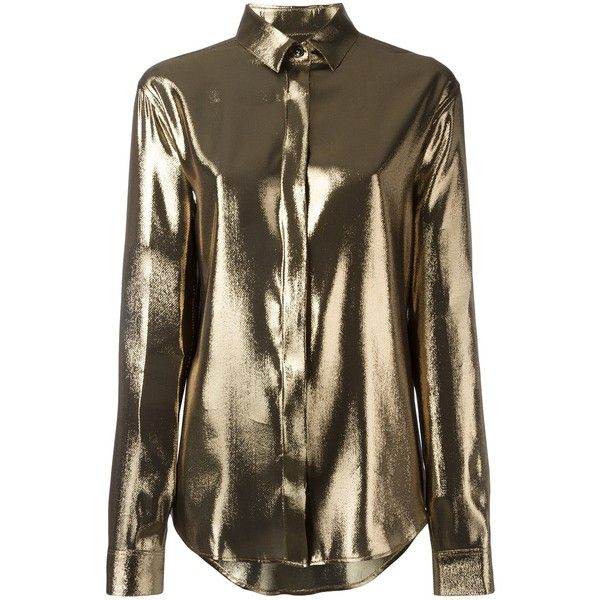 Saint Laurent Beige Gold Metallic Meteorite Shirt ($1,390) ❤ liked on Polyvore featuring tops, beige gold, beige long sleeve top, brown long sleeve shirt, gold long sleeve top, gold long sleeve shirt and long sleeve shirts
