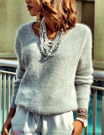 Statement necklace on knit
