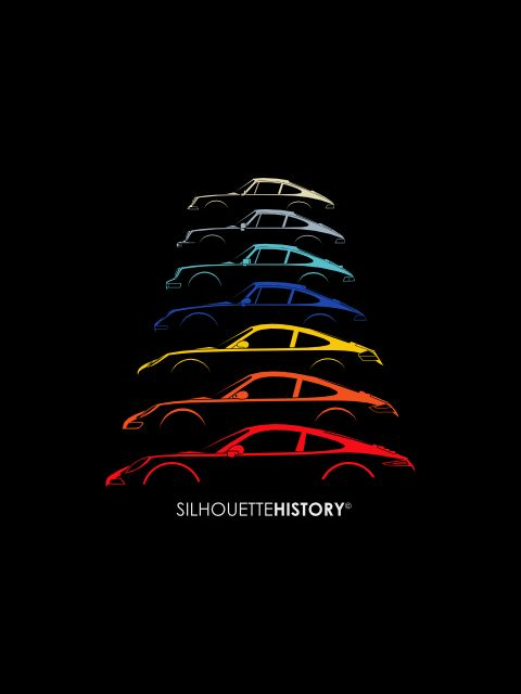 Boxer Sports Car SilhouetteHistorySilhouettes of Porsche 911 generations: 911 classic w. and w/o big bumpers, 964, 993, early 996, 997 and 991