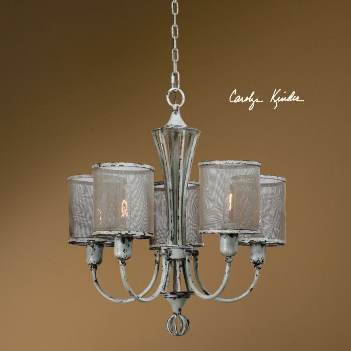 Uttermost pontoise chandelier this vintage rustic style chandelier features a handcrafted rustic screen shades with