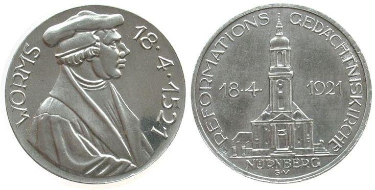 Reformation / Religion Aluminium Nürnberg, auf die Grundsteinlegung der Reformations-Gedächniskirche und die 4. Säkularfeier in Nürnberg, Brustbild Mar Medaille 1921 vz