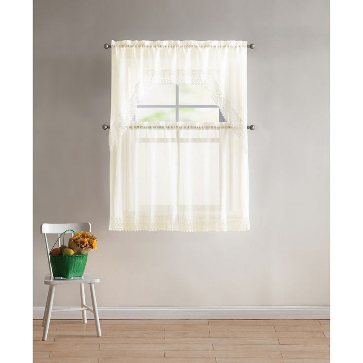 Vcny Home Farrah Lace 4-piece Kitchen Curtain Set (Ivory - ivory) (Polyester, Solid)