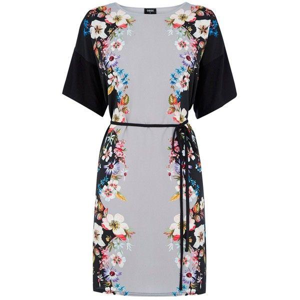 Oasis V&A Saphire Dress, Multi/Black ($34) ❤ liked on Polyvore featuring dresses, black knee length dress, print maxi dress, black dress, black floor length dress and half sleeve dress