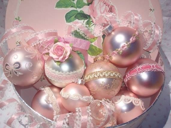 Pretty Pink Christmas Ornaments girly pink tree pretty roses lace decorate balls christmas decorations ornaments