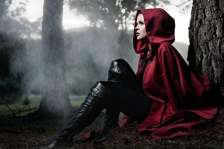 red caped woman | ... Women ( red riding hood portrait female cape, strobist elinchrom