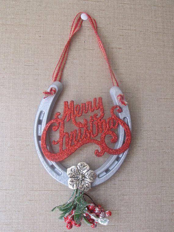 Horse Shoe Mistole, Merry Christmas Hanger Good Luck Charm, Equestrian's Dream