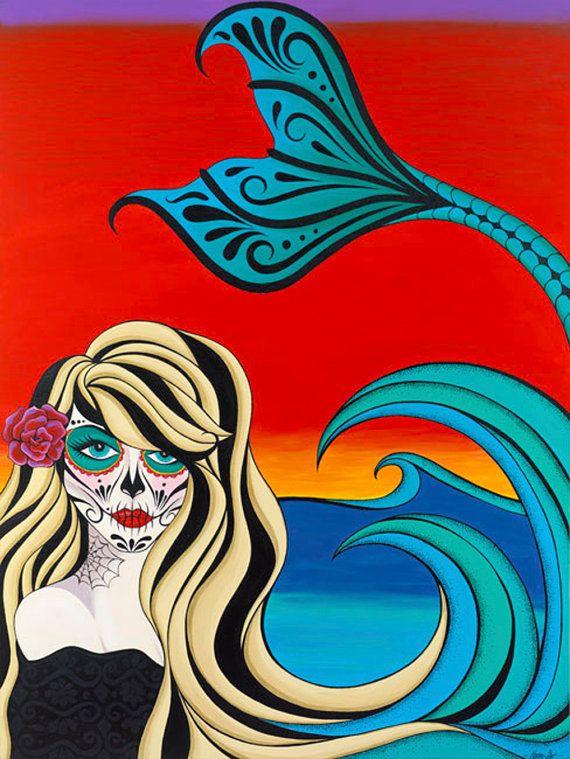 Tattoo Mermaid large canvas print by NaomiStarDesigns on Etsy, $352.00