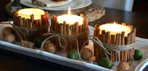 #Eco-Friendly #crafts for #Diwali: #Cinnamon #stick #candles for #decoration and #use.