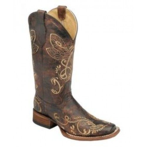 Corral Circle G Ladies Cowboy Boots Distressed Brown with Dragonfly Embroidery in Square ToeCorral Circle G style L5079 reminds us of summer when dragonflies zip across the sky. The bone embroidery depicts a dragonfly on the tops and scrolling accents. The Distressed Brown leather has various light and dark tones, giving it a slightly tumbled look. You can wear these with jeans, leggings, skirts, ...
