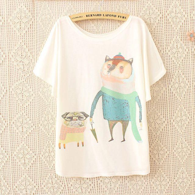 2016 estate giapponese kawaii donne di grandi dimensioni vestiti del fumetto fox e francese bulldog carino t-shirt top delle donne di estate bianco tshirt