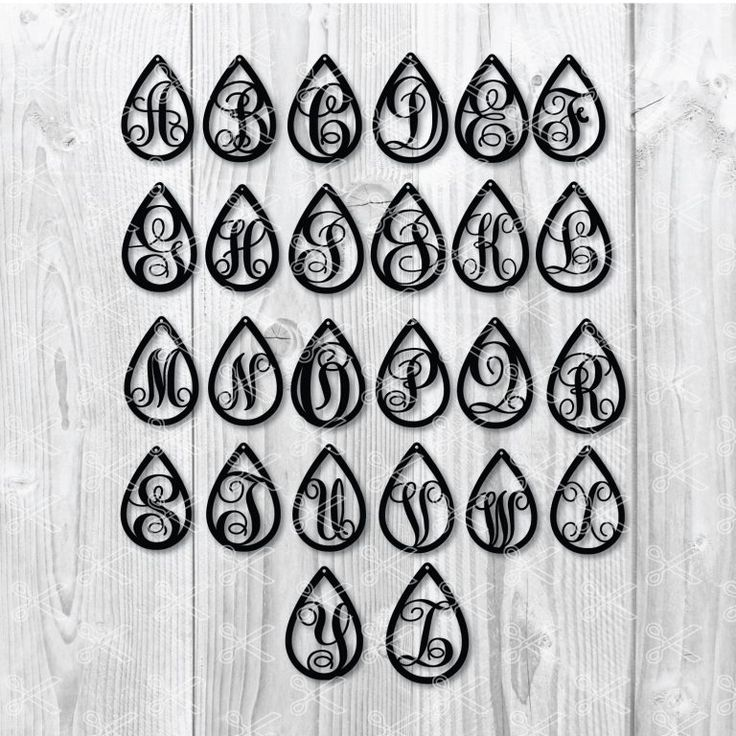 TearDrop Earring SVG DXF Alphabet Earring (With images