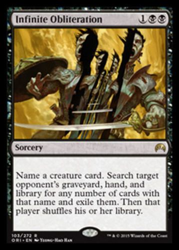 Infinite Obliteration mtg Magic the Gathering Origins black sorcery card
