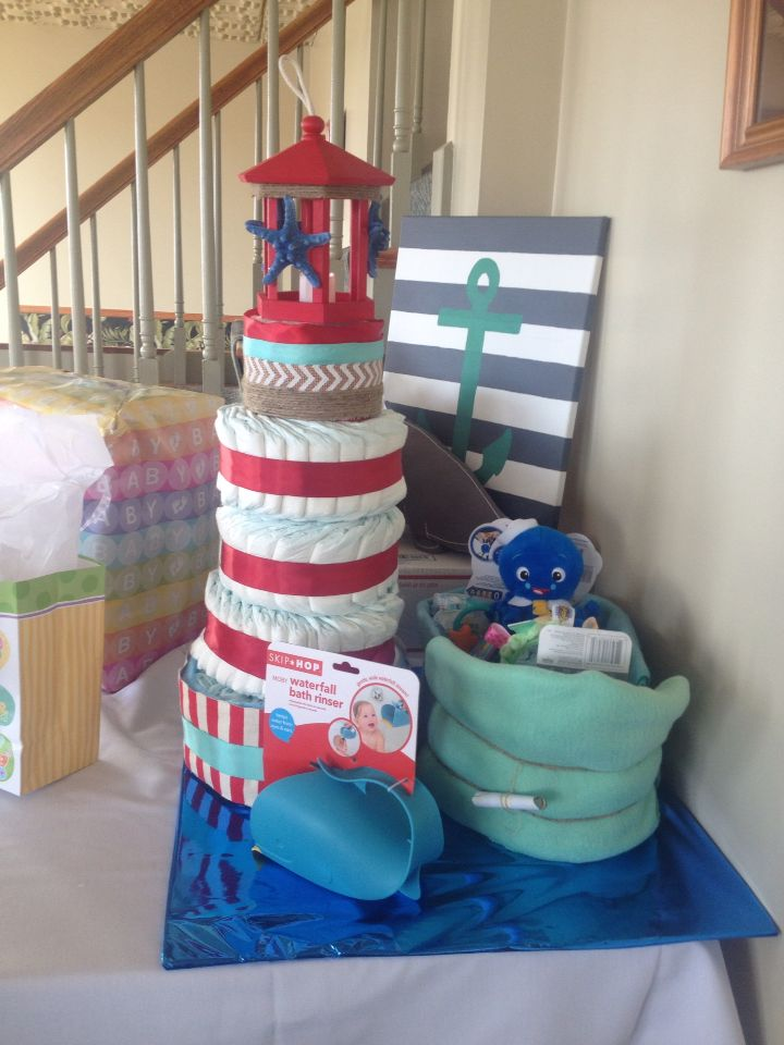Light House Diaper Cake And Tug Boat Projects To Try