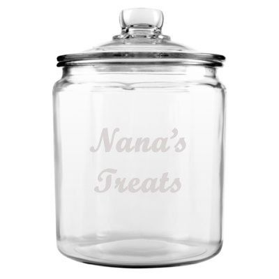 MOTHERS DAY GIFT Personalized Cookie Jar Custom Etched Glass for Nana Candy Jar Treats...
