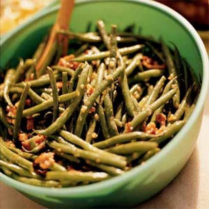 Green Bean Salad with Bacon Recipe Salads with green beans, bacon slices, shallots, red wine vinegar, honey, dijon mustard, ground black pepper, kosher salt