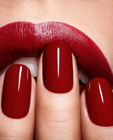Perfectly applied nail polish and lipstick are so classy. These blood red wedding nails and lips are flawless.