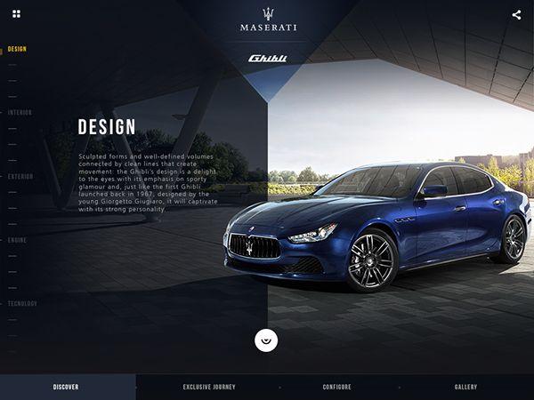 Maserati -Ghibli - Ipad app by Gianpaolo Tucci, via Behance