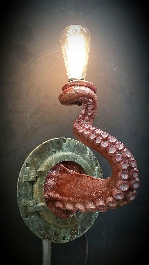 Nautical Tentacle Porthole Lamp by EpochCreations on Etsy
