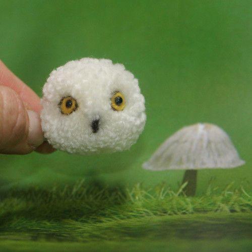 "Brož  \""Sovička sněžná\"", Brooch cute pomp pomp animals, wool, light, nature, animal, natural, pet, white, cheerful, gentle, sweet, cute pom pom animals, miniature, owl, Snowy owl"