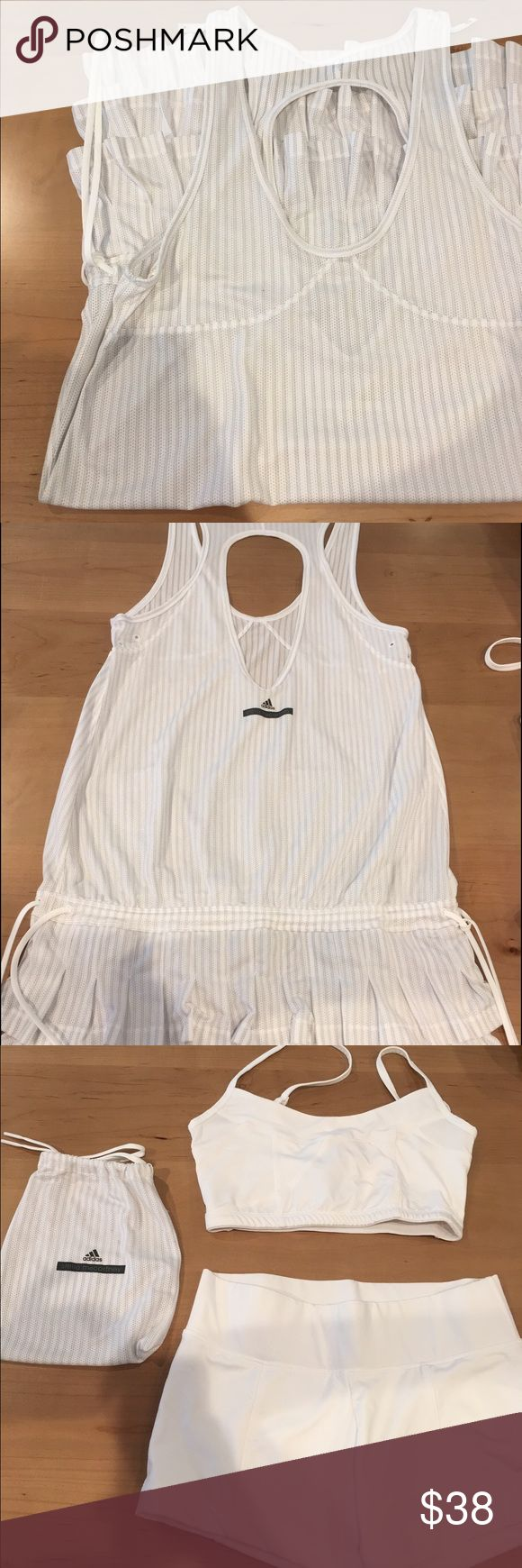 Stella McCartney / Adidas tennis wear Tennis skirt. White Nylon. Comes with a matching white top and short and a little bag. Adidas by Stella McCartney Other