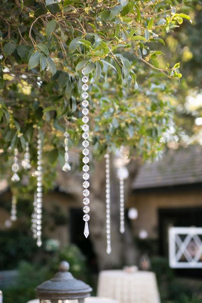 So pretty! Hanging #crystals from trees. A little #glam inside this #rustic wedding {Michael Anthony Photography}