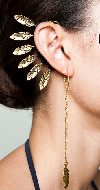 feathers ear cuff and dangle earrings