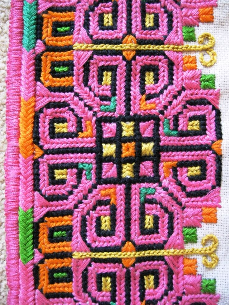 Detail of an embroidered chest panel for a man's traditional Ukrainian 'sorochka', or shirt, in a style popular in the city of Horodenka and surrounding villages of Yaseniv-Pil'nyi, Torhovytsi, Tyshkivtsi, and Luka, from Carpathian Western Ukraine (Hand embroidered by Dave Melnychuk)