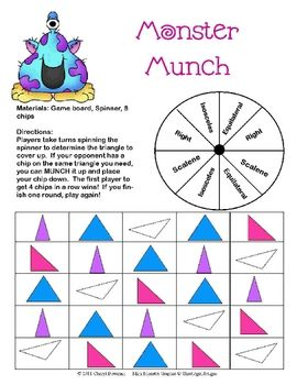 This printable partner game allows students to practice identifying types of triangles - Right Triangles, Scalene Triangles and Isoceles Triangles....
