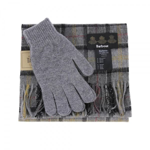 Barbour Scarf and Glove Gift Set Modern Tartan Grey