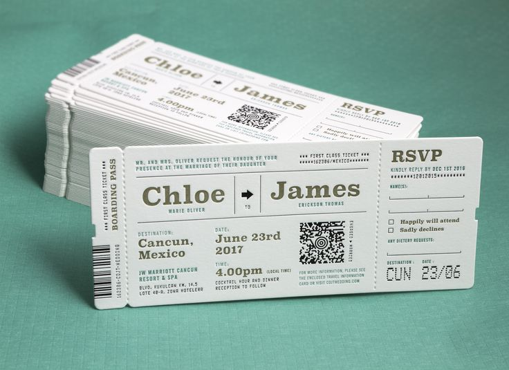 The PERFECT invitation for a destination wedding! Featuring multi-coloured letterpress and a custom air-line ticket shape. #jukeboxprint
