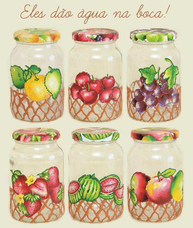 Potes de vidro com tecido gomaflex - Daiara
