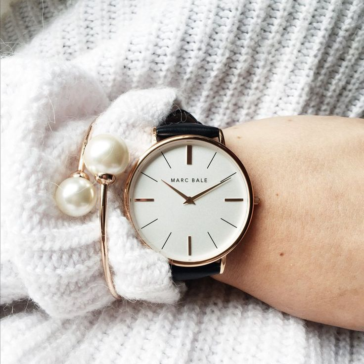 Marc Bale Rose Gold Black Leather watch and Pearl Embrace Bangle by @thepeachbox