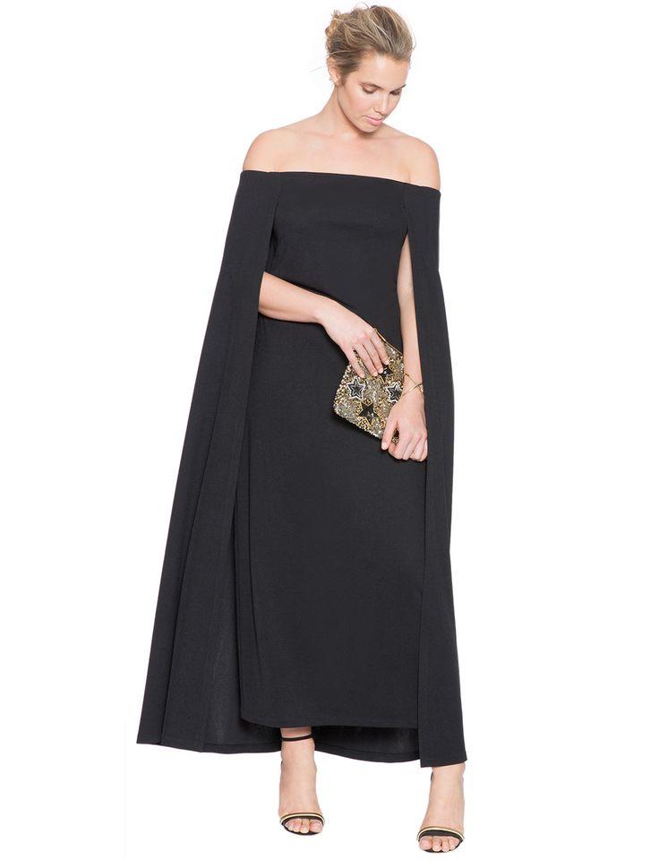 Studio Off The Shoulder Cape Gown | Women's Plus Size Tops | ELOQUII