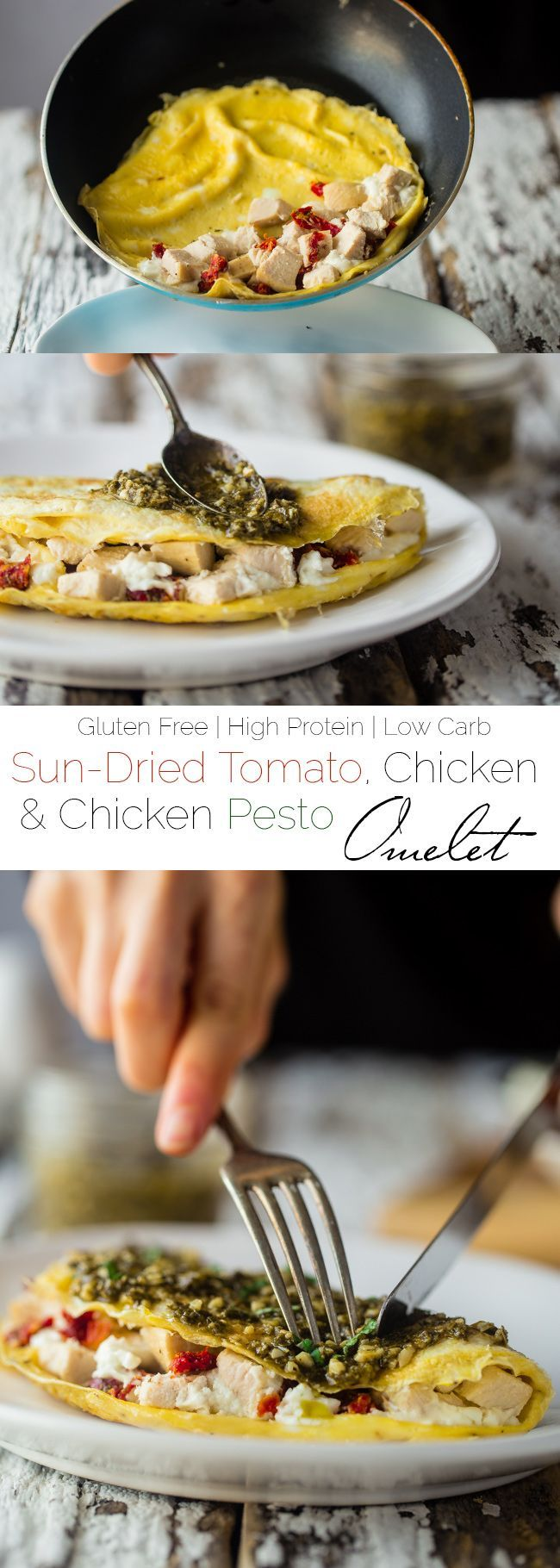 Pesto Chicken Egg White Omelette with Goat Cheese - This quick and ...