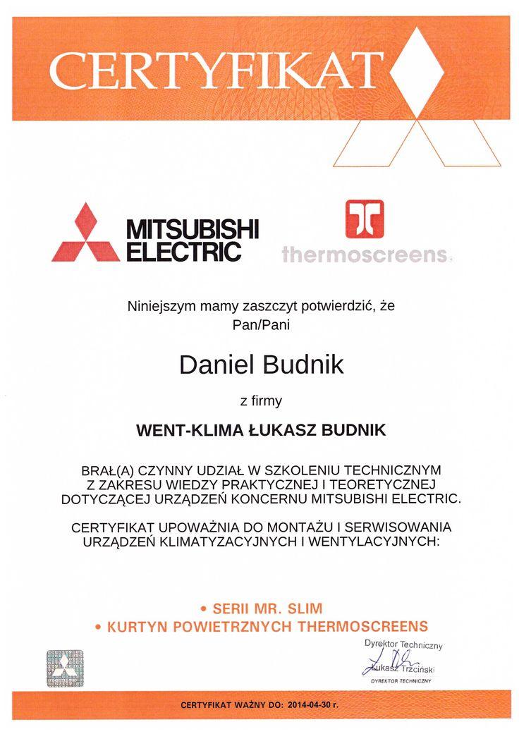 Mitsubishi Mr. Slim - certyfikat ze szkolenia