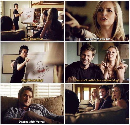 The Vampire Diaries. This scene was funny! I still miss Aunt Jenna, Alaric, and Mason. TVD.